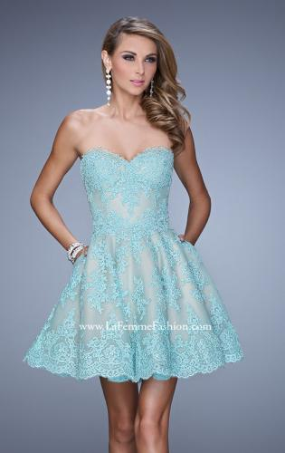 Picture of: Short Lace Cocktail Dress with Pockets, Style: 21446, Main Picture