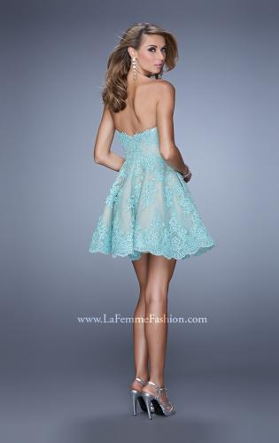 Picture of: Short Lace Cocktail Dress with Pockets, Style: 21446, Back Picture