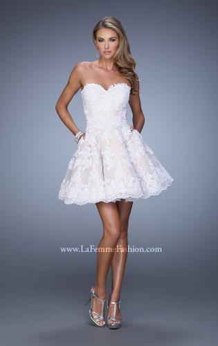 Picture of: Short Lace Cocktail Dress with Pockets, Style: 21446, Detail Picture 1