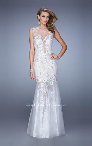 Picture of: Sleeveless Trumpet Prom Gown with Sheer Lace Skirt, Style: 21457, Main Picture
