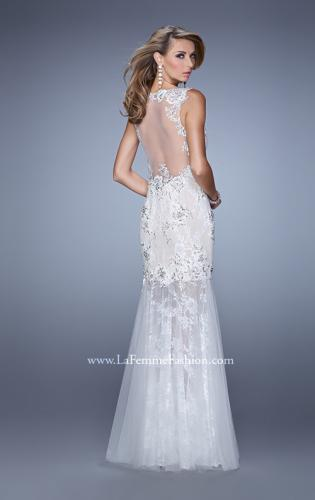 Picture of: Sleeveless Trumpet Prom Gown with Sheer Lace Skirt, Style: 21457, Back Picture