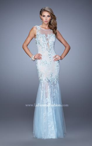 Picture of: Sleeveless Trumpet Prom Gown with Sheer Lace Skirt, Style: 21457, Detail Picture 1