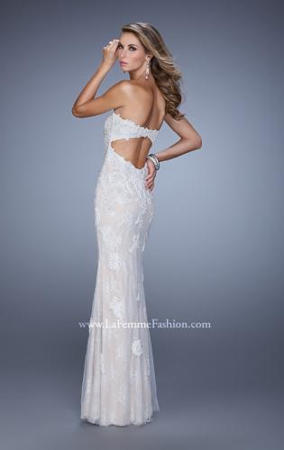 Picture of: Jersey Prom Dress with Lace Tulle Overlay and Open Back, Style: 21514, Main Picture