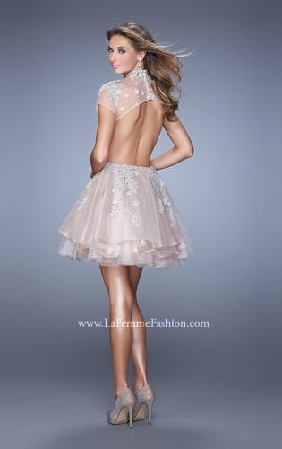 Picture of: Flirty Cocktail Dress with Layered Skirt and Embroidery, Style: 21530, Back Picture