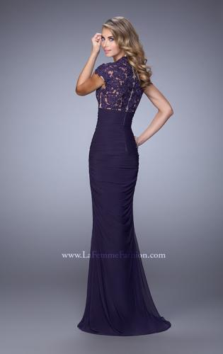 Picture of: Form Fitting Ruched Prom Dress with Rhinestones, Style: 21551, Back Picture