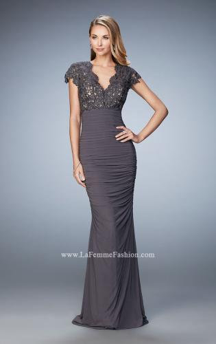 Picture of: Form Fitting Ruched Prom Dress with Rhinestones, Style: 21551, Detail Picture 2