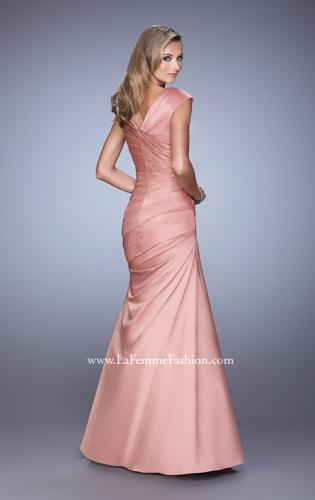 Picture of: V Neck Satin Evening Dress with Cap Sleeves, Style: 21610, Back Picture