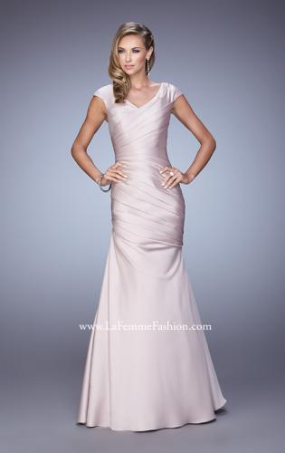 Picture of: V Neck Satin Evening Dress with Cap Sleeves, Style: 21610, Detail Picture 1