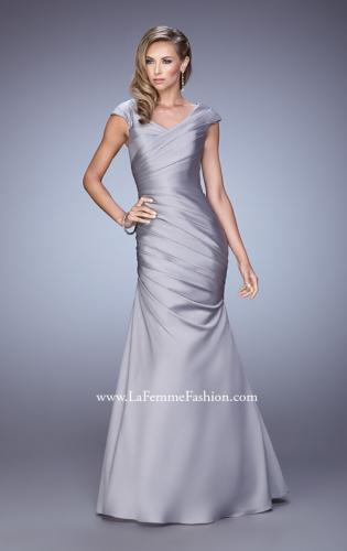 Picture of: V Neck Satin Evening Dress with Cap Sleeves, Style: 21610, Detail Picture 2