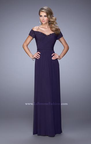 Picture of: Off the Shoulder Evening Dress with Jeweled Embroidery, Style: 21613, Main Picture