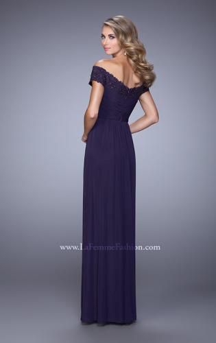 Picture of: Off the Shoulder Evening Dress with Jeweled Embroidery, Style: 21613, Back Picture