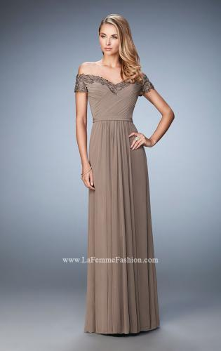 Picture of: Off the Shoulder Evening Dress with Jeweled Embroidery, Style: 21613, Detail Picture 2