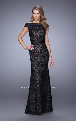 Picture of: Elegant Off the Shoulder Lace Dress with Ruched Belt, Style: 21618, Main Picture