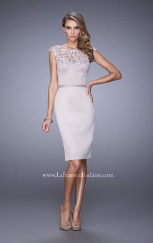 Picture of: Stretch Satin Dress with Intricate Lace Detailing, Style: 21619, Main Picture