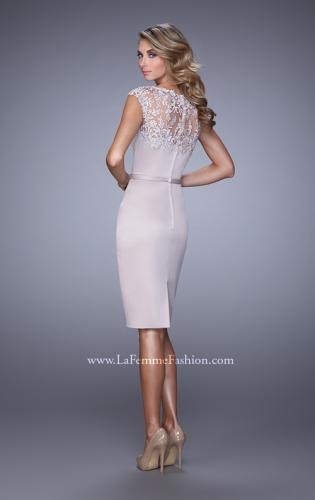 Picture of: Stretch Satin Dress with Intricate Lace Detailing, Style: 21619, Back Picture