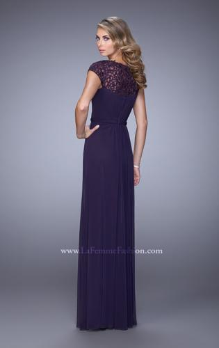 Picture of: Cap Sleeve Embroidered Dress with Cascading Ruffles, Style: 21621, Back Picture