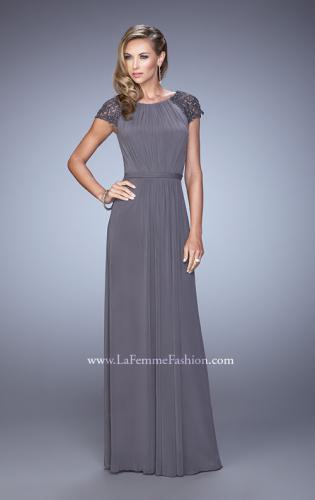 Picture of: Cap Sleeve Embroidered Dress with Cascading Ruffles, Style: 21621, Detail Picture 1