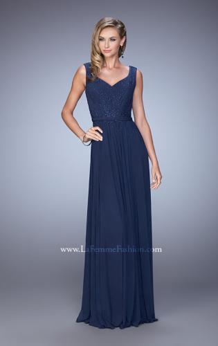 Picture of: V Neck Evening Dress with Jewel Adorned Bodice, Style: 21624, Main Picture