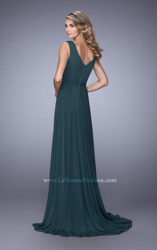 Picture of: V Neck Evening Dress with Jewel Adorned Bodice, Style: 21624, Back Picture