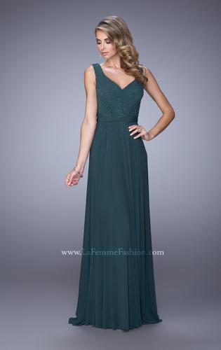 Picture of: V Neck Evening Dress with Jewel Adorned Bodice, Style: 21624, Detail Picture 1