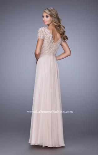 Picture of: Short Sleeve Evening Dress with Lace Overlay Bodice, Style: 21632, Back Picture