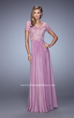 Picture of: Short Sleeve Evening Dress with Lace Overlay Bodice, Style: 21632, Detail Picture 1