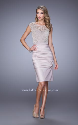 Picture of: Stretch Satin Cocktail Dress with Ruched Skirt, Style: 21633, Main Picture