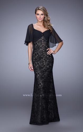 Picture of: Lace Dress with Sheet Flutter Sleeves and Gemstone Accent, Style: 21639, Main Picture