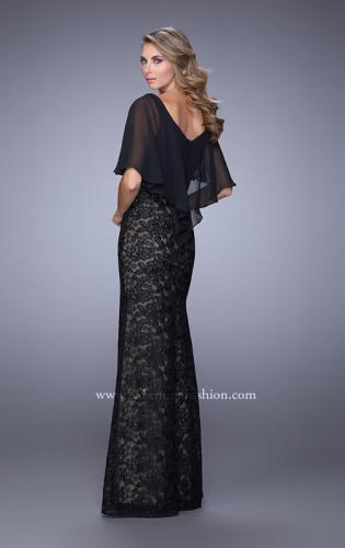 Picture of: Lace Dress with Sheet Flutter Sleeves and Gemstone Accent, Style: 21639, Back Picture