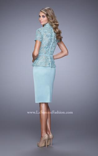 Picture of: Stretch Satin Dress with Collar and Low Scoop Neckline, Style: 21641, Back Picture