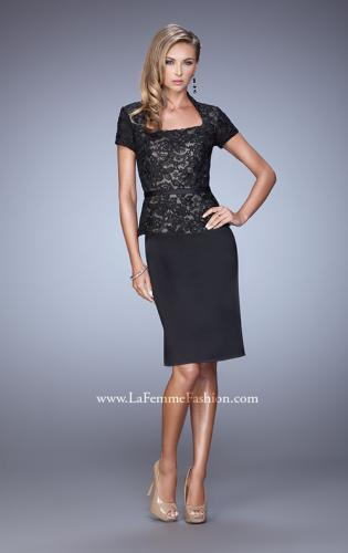 Picture of: Stretch Satin Dress with Collar and Low Scoop Neckline, Style: 21641, Detail Picture 1