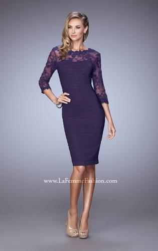 Picture of: Ruched Dress with High Neckline and Lace Sleeves, Style: 21644, Main Picture