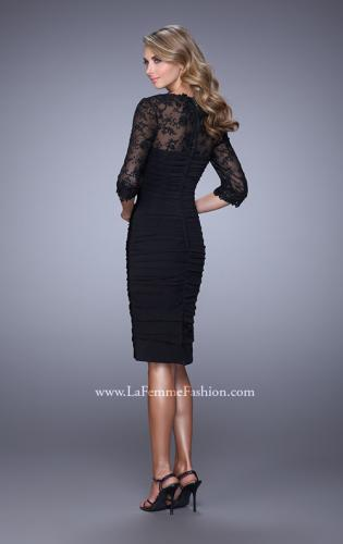 Picture of: Ruched Dress with High Neckline and Lace Sleeves, Style: 21644, Back Picture