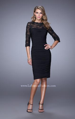 Picture of: Ruched Dress with High Neckline and Lace Sleeves, Style: 21644, Detail Picture 1
