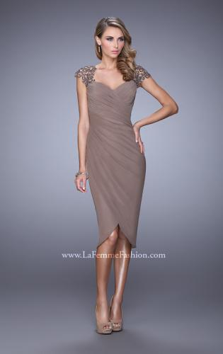 Picture of: Net Jersey Cocktail Dress with Embroidered Sleeves, Style: 21648, Main Picture