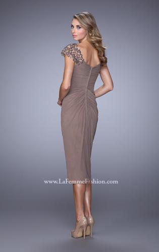 Picture of: Net Jersey Cocktail Dress with Embroidered Sleeves, Style: 21648, Back Picture