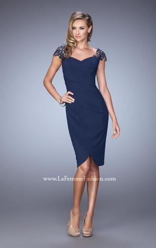 Picture of: Net Jersey Cocktail Dress with Embroidered Sleeves, Style: 21648, Detail Picture 1