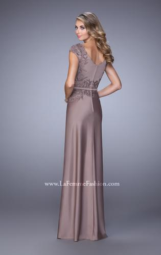Picture of: V Neck Evening Dress with Cap Sleeves and Thin Belt, Style: 21652, Back Picture