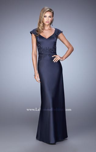 Picture of: V Neck Evening Dress with Cap Sleeves and Thin Belt, Style: 21652, Detail Picture 1