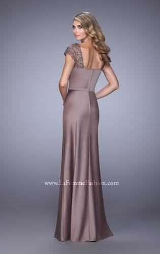 Picture of: Embroidered Sleeves Evening Dress with Belt Detail, Style: 21654, Back Picture