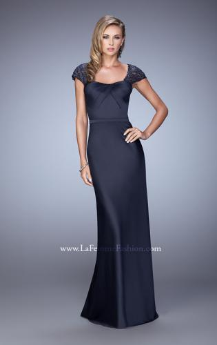 Picture of: Embroidered Sleeves Evening Dress with Belt Detail, Style: 21654, Detail Picture 1