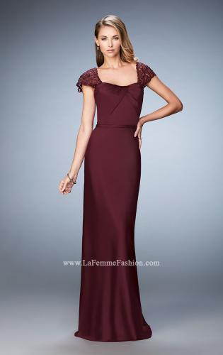 Picture of: Embroidered Sleeves Evening Dress with Belt Detail, Style: 21654, Detail Picture 2