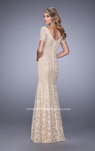 Picture of: Lace Dress with Subtle Embellishments and Short Sleeves, Style: 21657, Back Picture