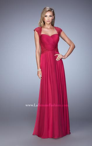 Picture of: Chiffon Dress with Criss Cross Gathered Knot Detail, Style: 21661, Detail Picture 1