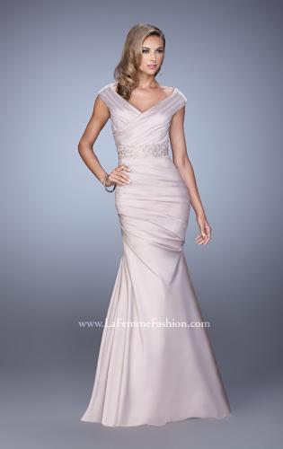 Picture of: Mermaid Dress with Off the Shoulder Sleeves and Belt, Style: 21664, Main Picture