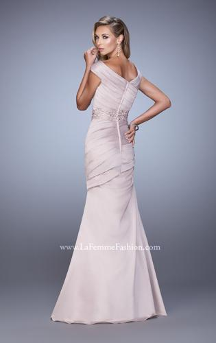 Picture of: Mermaid Dress with Off the Shoulder Sleeves and Belt, Style: 21664, Back Picture