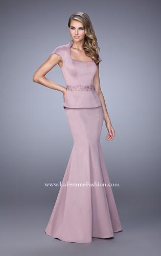 Picture of: Cap Sleeve Evening Dress with Mermaid Skirt and Collar, Style: 21666, Main Picture
