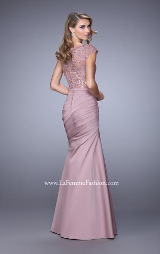 Picture of: Satin Dress with Beaded Lace Bodice and Gathering, Style: 21669, Back Picture