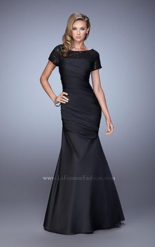 Picture of: Sheer Short Sleeve Satin Dress with Scoop Neckline, Style: 21670, Main Picture