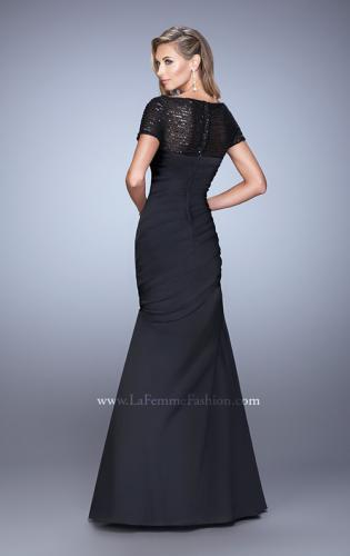 Picture of: Sheer Short Sleeve Satin Dress with Scoop Neckline, Style: 21670, Back Picture